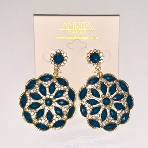 Amrita Singh Blue Lapis Drop Statement Earrings
